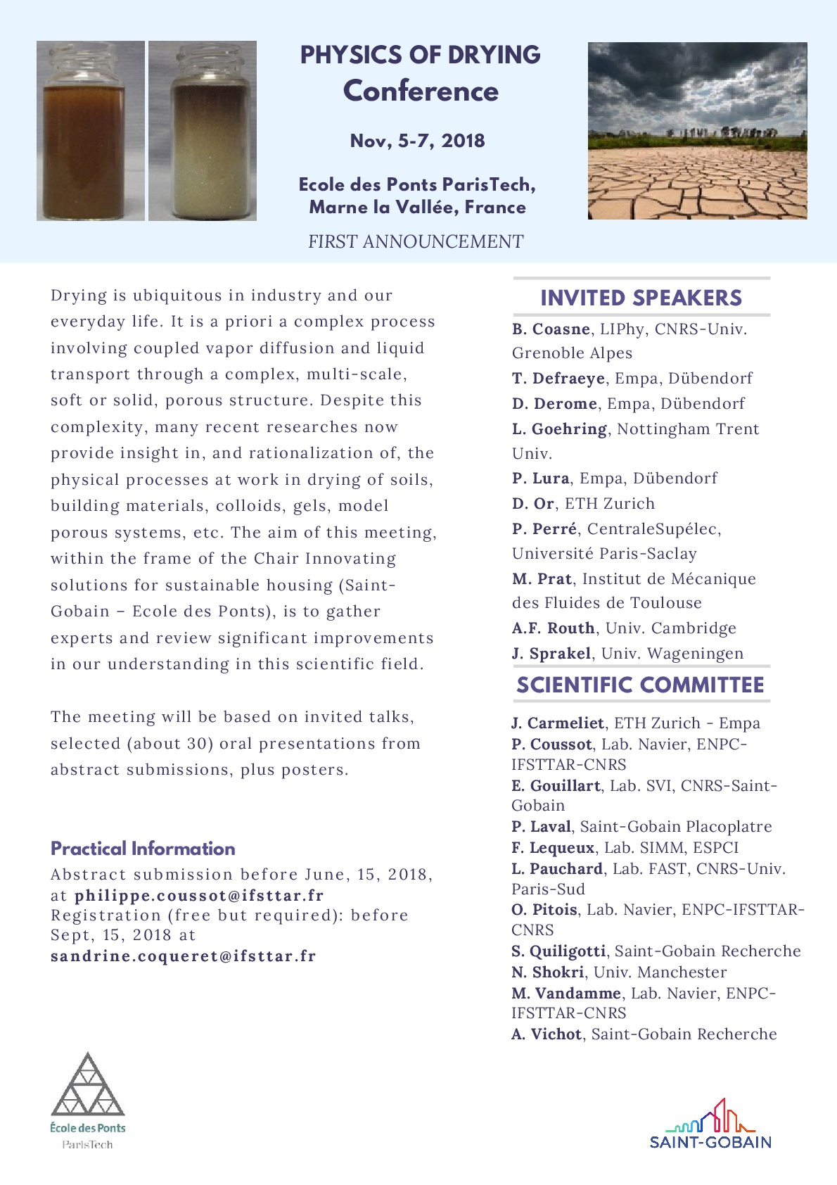 Physics of drying conference, Nov. 5-7, 2018